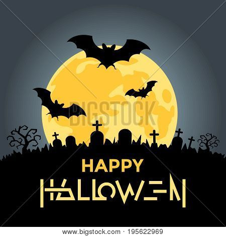 Digital vector yellow black happy halloween icons with drawn simple line art info graphic, presentation with bats, moon and cemetery elements around promo template, flat style