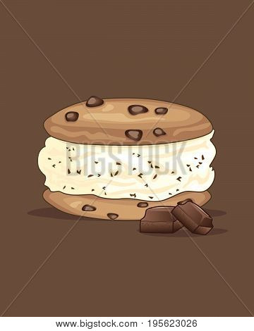 an illustration of a delicious cool ice cream sandwich with chocolate chip cookies and vanilla ice cream with chunks of chocolate on a brown background