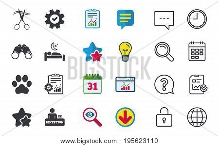 Hotel services icons. With pets allowed in room signs. Hairdresser or barbershop symbol. Reception registration table. Quiet sleep. Chat, Report and Calendar signs. Vector