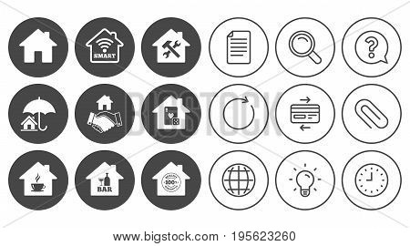 Real estate icons. House insurance, broker and casino with bar signs. Handshake deal, coffee and smart house symbols. Document, Globe and Clock line signs. Lamp, Magnifier and Paper clip icons