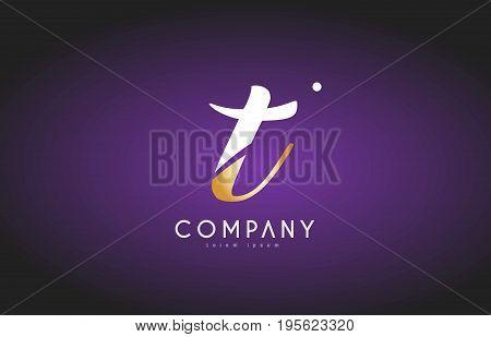 T Alphabet Letter Gold Golden Logo Icon Design