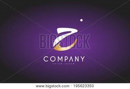 Z Alphabet Letter Gold Golden Logo Icon Design