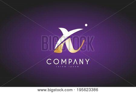 X Alphabet Letter Gold Golden Logo Icon Design