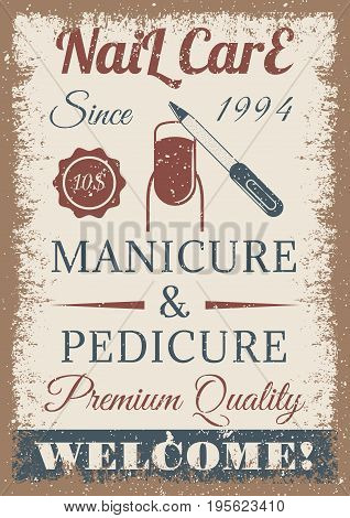 Manicure and pedicure vintage colored poster. retro style