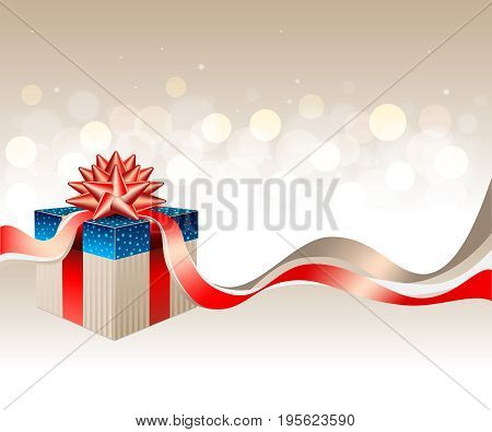 A golden blue gift box with a red gold ribbon and a bow on a light shiny bokeh background with space for text