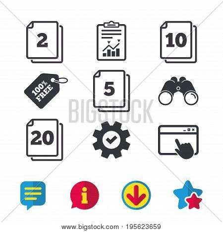 In pack sheets icons. Quantity per package symbols. 2, 5, 10 and 20 paper units in the pack signs. Browser window, Report and Service signs. Binoculars, Information and Download icons. Stars and Chat