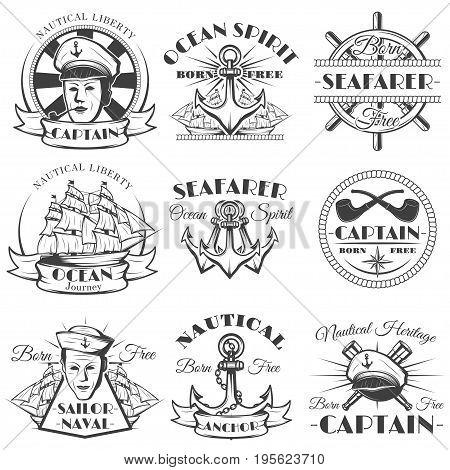 Sailor naval vector vintage label, badge, or emblem in monochrome style. Ocean spirit, Nautical heritage, Born free, Sailor naval, Captain. poster