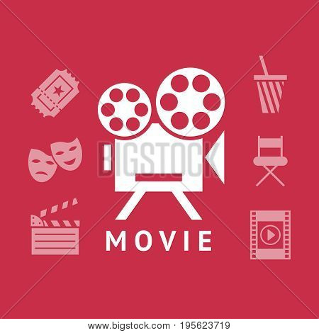 Digital vector red white cinema icons with drawn simple line art info graphic, presentation with screen, movie and old camera elements around promo template, flat style