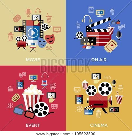 Digital vector red blue cinema icons with drawn simple line art info graphic, presentation with screen, movie and film elements around promo template, flat style