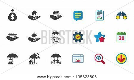 Insurance icons. Life, Real estate and House signs. Money bag, family and travel symbols. Calendar, Report and Download signs. Stars, Service and Search icons. Statistics, Binoculars and Chat. Vector