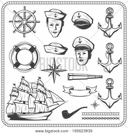 Vintage sailor naval icon set in monochrome style illustration. isolated on white background