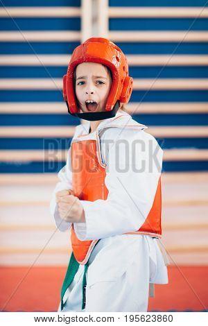 Taekwondo girl on training indoors toned image color image