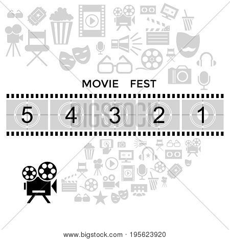 Digital vector black cinema icons with drawn simple line art info graphic, presentation with screen, movie fest and old camera elements around promo template, flat style