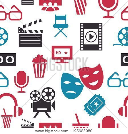 Digital vector red white cinema icons with drawn simple line art info graphic, seamless pattern, presentation with screen, movie and old camera elements around promo template, flat style