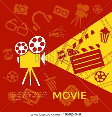 Digital vector red yellow cinema icons with drawn simple line art info graphic, presentation with screen, movie and old camera elements around promo template, flat style