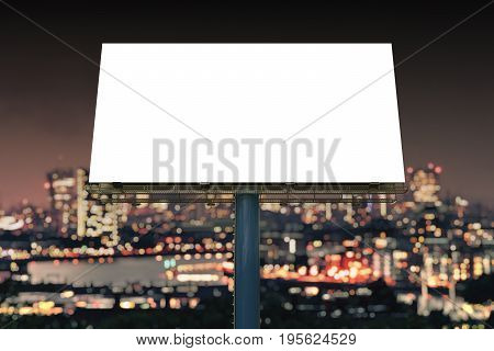 Large Billboard Against Sky At Night. 3D Rendered Illustration.