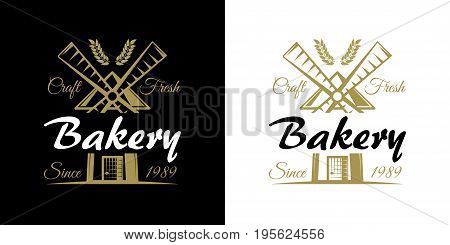 Bakery set of vector vintage emblems, labels, badges and logos with golden wheat and windmill. company slogan