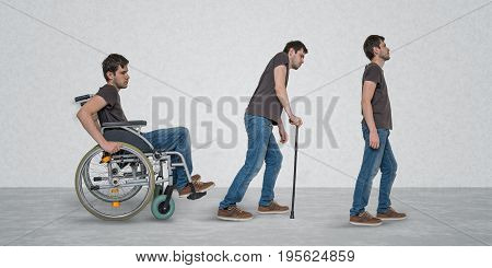Recovery Of Handicapped Disabled Man On Wheelchair.