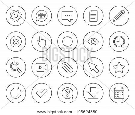 Document, Time and Calendar line icons. Question, Chat and Pencil signs. Cogwheel, Download and Attach clip symbols. Mouse cursor, Magnifier and Shopping cart. Circle buttons with linear elements