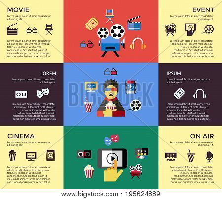 Digital vector red blue cinema icons with drawn simple line art info graphic, presentation with screen, movie and spectator elements around promo template, flat style