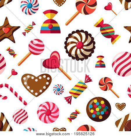 Digital vector red brown sweet candies icons with drawn simple line art info graphic, presentation with sweety, seamless pattern, chocolate and cookies elements around promo template, flat style