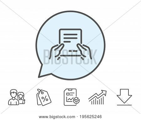 Hold Document line icon. Agreement Text File sign. Contract with signature symbol. Report, Sale Coupons and Chart line signs. Download, Group icons. Editable stroke. Vector
