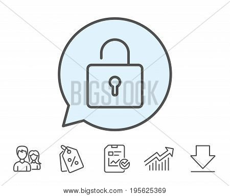 Lock line icon. Private locker sign. Password encryption symbol. Report, Sale Coupons and Chart line signs. Download, Group icons. Editable stroke. Vector