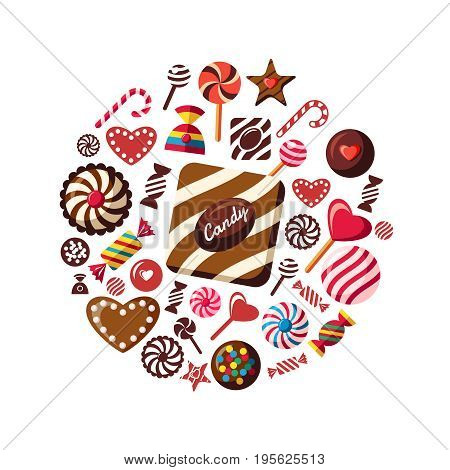 Digital vector red brown sweet candies icons with drawn simple line art info graphic, presentation with sweety, chocolate and cookies elements around promo template, flat style