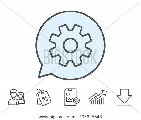 Cogwheel line icon. Service sign. Transmission Rotation Mechanism symbol. Report, Sale Coupons and Chart line signs. Download, Group icons. Editable stroke. Vector