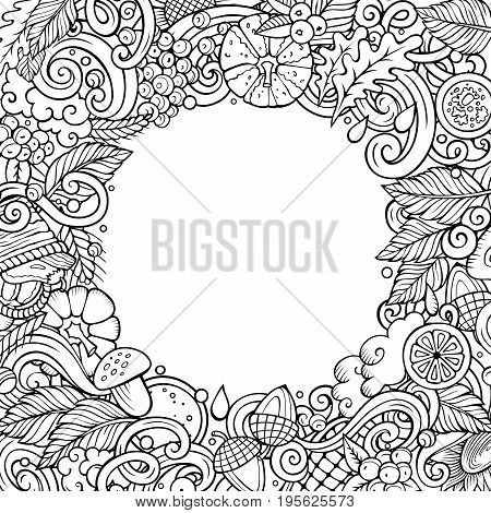 Cartoon vector doodles Autumn frame design. Line art detailed, with lots of objects illustration. All items are separate. Sketchy fall funny border