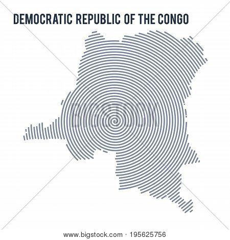 Vector Abstract Hatched Map Of Democratic Republic Of The Congo With Spiral Lines Isolated On A Whit