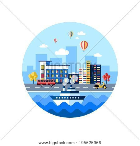 Digital vector blue city transport icons with drawn simple line art info graphic, presentation with car, boat and building elements around promo template, round frame, flat style