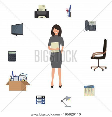 Office worker is surrounded by office supplies. There is a monitor, printer, telephone, calculator, chair, cardboard box with stationery, lamp and other objects in the picture. Vector illustration