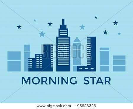 Digital vector blue city building icons with drawn simple line art info graphic, presentation with skyscraper and morning star elements around promo template, flat style