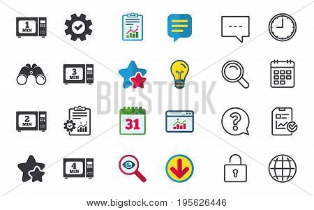 Microwave oven icons. Cook in electric stove symbols. Heat 1, 2, 3 and 4 minutes signs. Chat, Report and Calendar signs. Stars, Statistics and Download icons. Question, Clock and Globe. Vector