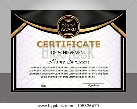 Certificate of achievement. Golden and black template. Elegant background. Winning the competition. Reward. Vector illustration.