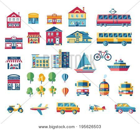 Digital vector blue red city transport icons set with drawn simple line art info graphic, presentation with car, plane and building elements around promo template, flat style