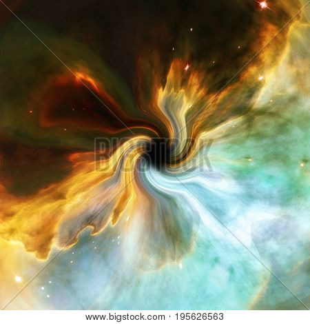 Artistic Representation Of A Cosmic Black Hole. Elements Furnished By Nasa