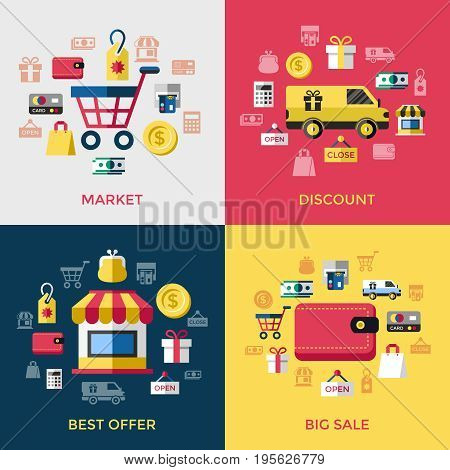 Digital vector yellow red shopping sale icons with drawn simple line art info graphic, presentation with money, commerce and economy elements around promo template, discount, flat style