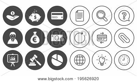 Money, cash and finance icons. Piggy bank, credit card and auction signs. Presentation, pie chart and businessman symbols. Document, Globe and Clock line signs. Lamp, Magnifier and Paper clip icons
