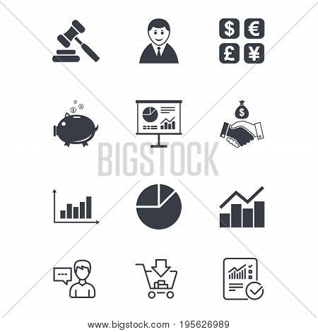 Money, cash and finance icons. Handshake, piggy bank and currency exchange signs. Chart, auction and businessman symbols. Customer service, Shopping cart and Report line signs. Vector