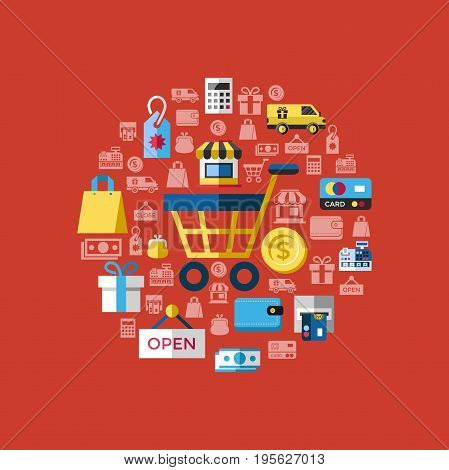 Digital vector yellow red shopping sale icons with drawn simple line art info graphic, presentation with money, commerce and economy elements around promo template, flat style