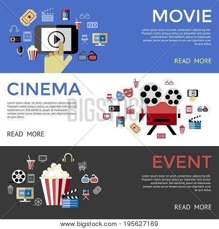 Digital vector black blue cinema icons with drawn simple line art info graphic, presentation with screen, movie and mobile phone elements around promo template, flat style