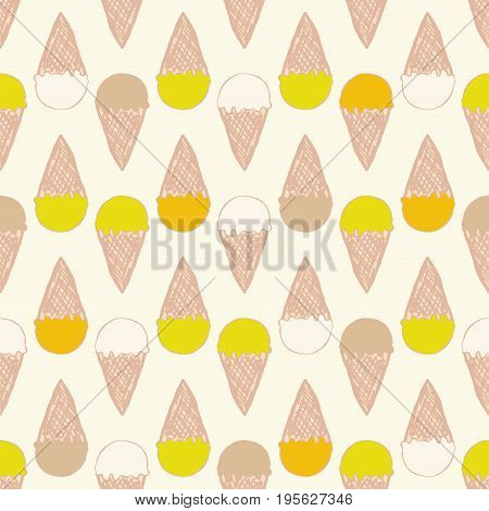 Seamless pattern with ice cream. Cute background in vintage retro style. Seamless vector illustration for printing on textiles, fabrics, surfaces, baby stuff, paper, skins, scrap-booking.