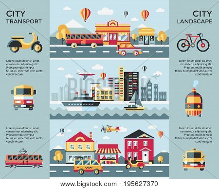 Digital vector blue city landscape transport icons with drawn simple line art info graphic, presentation with car, boat and urban building elements around promo template, round frame, flat style