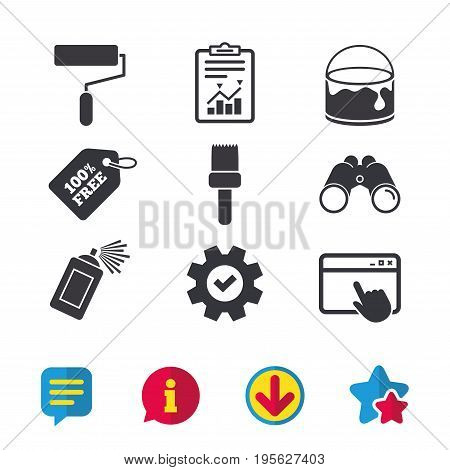 Painting roller, brush icons. Spray can and Bucket of paint signs. Wall repair tool and painting symbol. Browser window, Report and Service signs. Binoculars, Information and Download icons. Vector