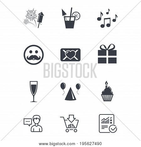 Party celebration, birthday icons. Musical notes, air balloon and champagne glass signs. Gift box, fireworks and cocktail symbols. Customer service, Shopping cart and Report line signs. Vector