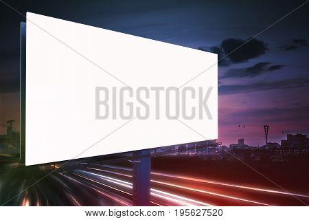 3D Rendered Illustration Of Large Billboard At Night. Light Trai