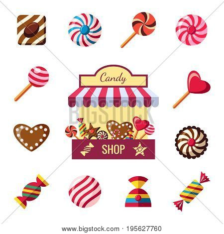 Digital vector red brown sweet candies icons with drawn simple line art info graphic, presentation with shop, sweety, chocolate and cookies elements around promo template, flat style