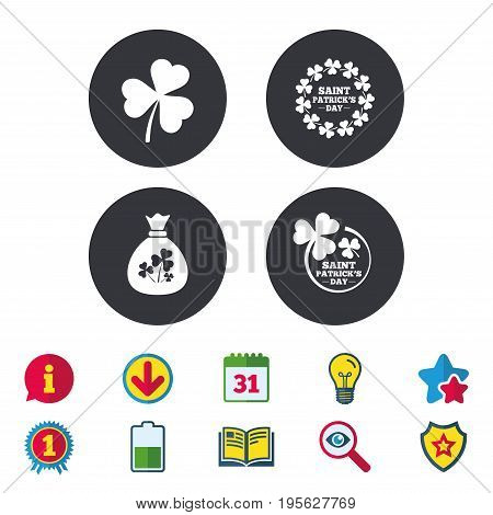 Saint Patrick day icons. Money bag with clover sign. Wreath of trefoil shamrock clovers. Symbol of good luck. Calendar, Information and Download signs. Stars, Award and Book icons. Vector